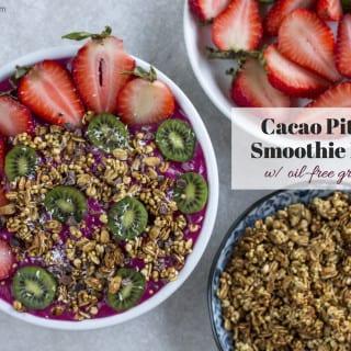 Cacao Pitaya Protein Smoothie Bowl w/ Oil-Free Granola