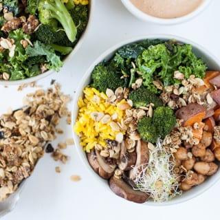 Simple Vegan Buddha Bowls w/ Sundried Tomato Tahini Dressing & Savory Granola {oil-free}