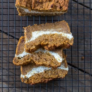 Date-Sweetened Pumpkin Cream Cheese Bread (oil-, gluten- & refined sugar-free)