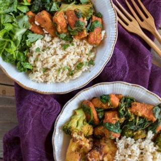 Thai Red Curry Breaded Tofu & Greens (Oil-free + gluten-free option)