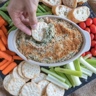Cream Cheese Spinach & Artichoke Dip {oil-free with gluten-free option}