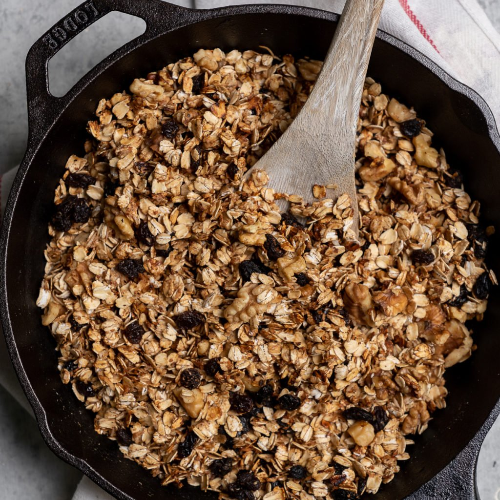 A simple yet incredibly delicious 6-Ingredient granola that can be made on the stovetop. PLUS it is oil- & gluten-free! sweetsimplevegan.com #stovetop #granola #6ingredient #easy #simple #musttry #breakfast #ideas #veganized #quick