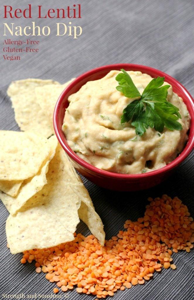 Red Lentil Nacho Dip | 35 Vegan Super Bowl Recipes -- Healthy & Oil-Free! | sweetsimplevegan.com