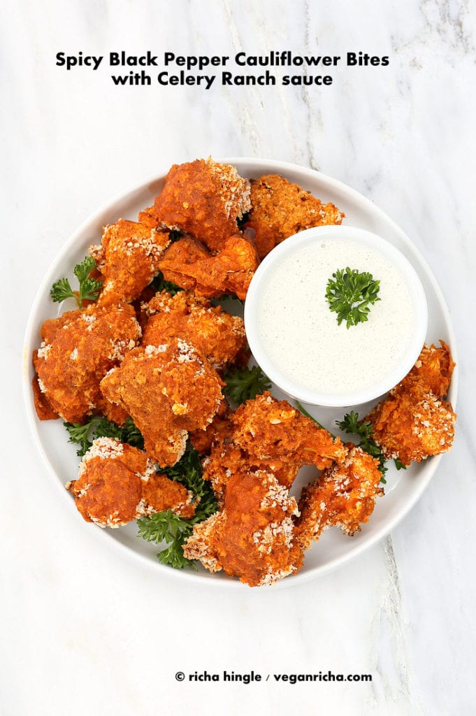 Spicy Baked Breaded Cauliflower bites with Celery Ranch | 35 Vegan Super Bowl Recipes -- Healthy & Oil-Free! | sweetsimplevegan.com
