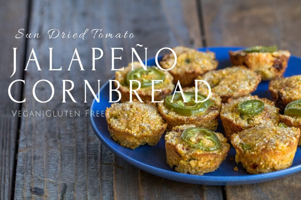 Sun Dried Tomato Jalapeño Cornbread | 35 Vegan Super Bowl Recipes -- Healthy & Oil-Free! | sweetsimplevegan.com