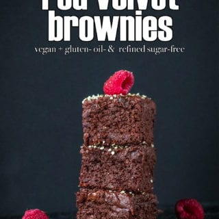 Beet-Free Red Velvet Brownies w/ 3-Ingredient Frosting {vegan + gluten- oil- & refined sugar-free}