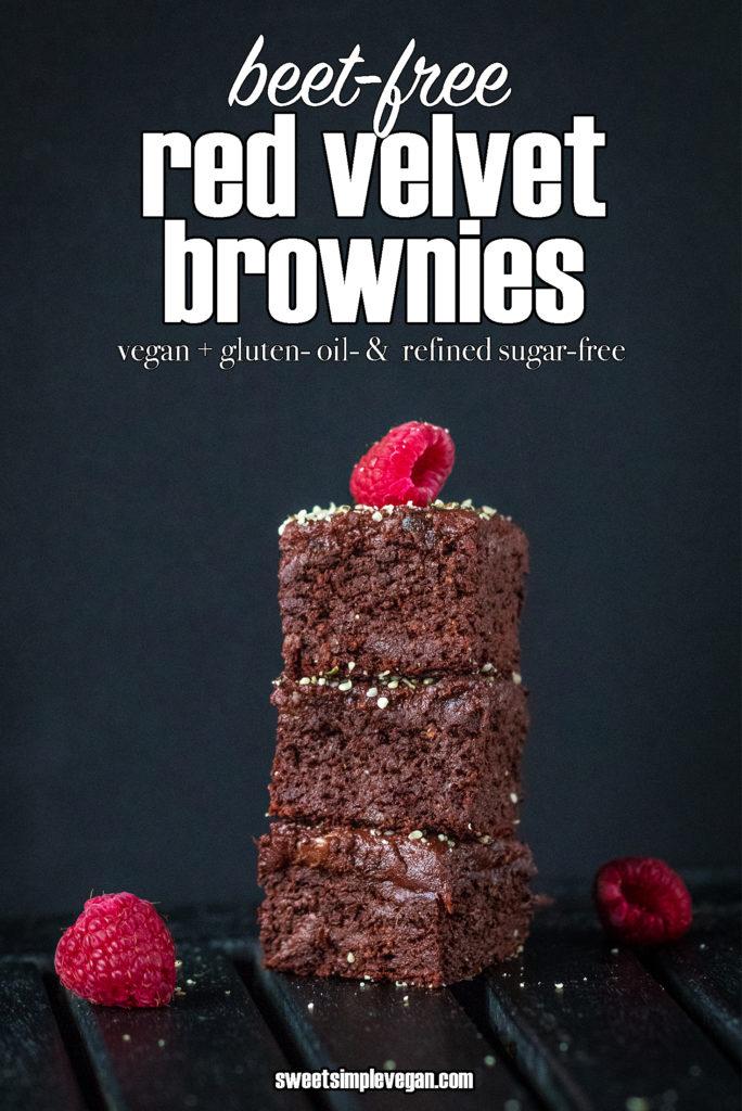 Beet-Free Red Velvet Brownies w/ 3-Ingredient Frosting {vegan + gluten- oil- & refined sugar-free} sweetsimplevegan.com