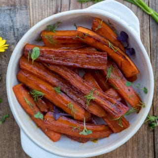 Stovetop Vegetable Juice-Glazed Carrots {oil-free} + SALAD POWER GIVEAWAY