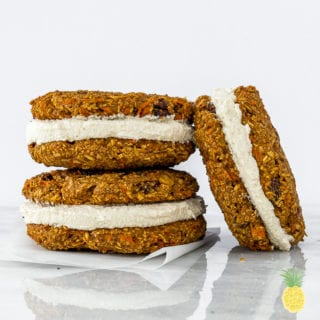 Vegan Carrot Cake Cookie Sandwiches + Coconut Cream Cheese Filling {oil-free}