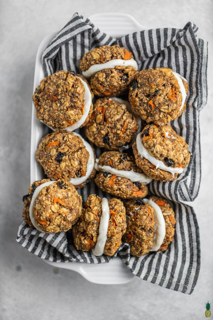 overhead basket with carrot cake cookie sandwiches. The perfect spring desserts.