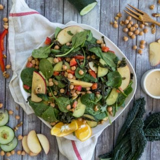Roasted Kale Salad w/ Easy Hummus Dressing {oil-free}