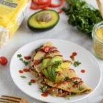 Loaded Vegan Chickpea Omelette {oil & gluten-free} sweetsimplevegan.com #veganegg #veganomelette #lowfat #glutenfree #veganbreakfast #savory #oilfree