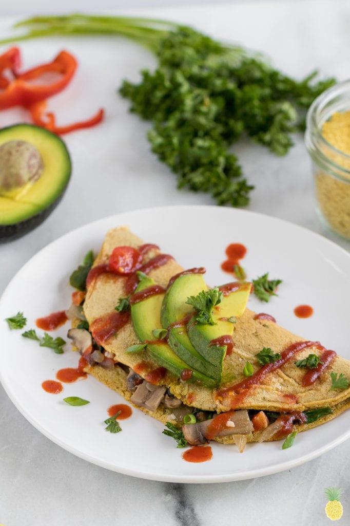 Loaded Vegan Chickpea Omelet {oil & gluten-free + low-fat}