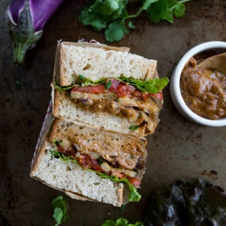 Thai Peanut Roasted Veggie Sandwich {easy + oil-free} #thai #peanut #sandwich #vegan #oilfree #easyvegan