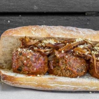 Vegan Meatball Sub Sandwich w/ Cashew Parmesan & Caramelized Onions (oil-free)
