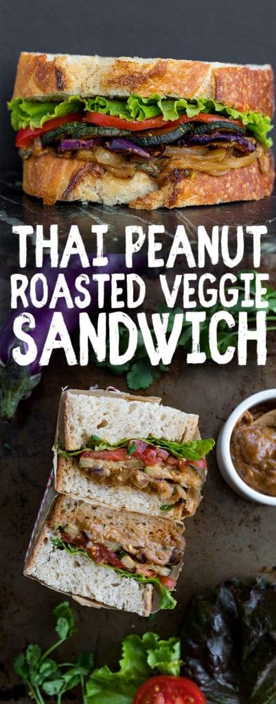 Thai Peanut Roasted Veggie Sandwich {easy + oil-free} #thai #peanut #sandwich #vegan #oilfree #easyvegan