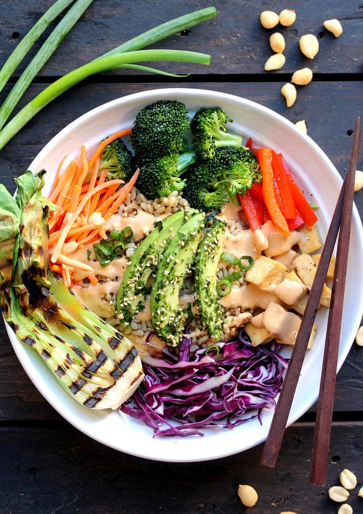 An easy & healthy asian inspired vegan buddha bowl with peanut sauce #vegan #buddhabowl #oilfree sweetsimplevegan.com