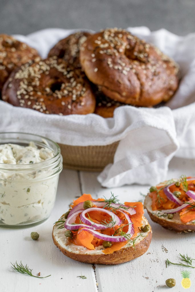 Bring your breakfast to a new level with Everything Pretzel Bagels! + Vegan Carrot Lox {oil-free} sweetsimplevegan.com #carrotlox #pretzel #vegan #pretzelbagel #oilfree