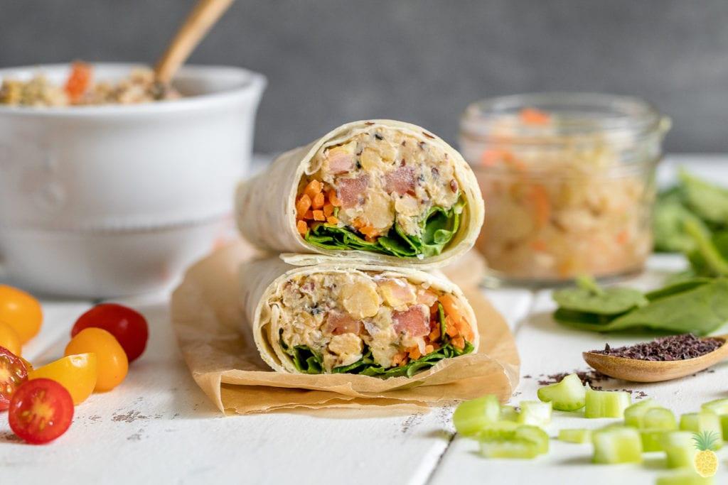 An easy + healthy on the go vegan lunch idea! Chickpea Sauerkraut Salad Lunch Wraps {gluten and oil-free} sweetsimplevegan.com #glutenfree #oilfree #vegan