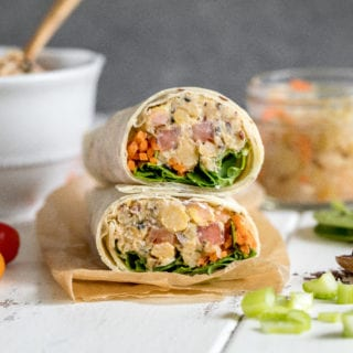 Chickpea Sauerkraut Salad Lunch Wraps {gluten and oil-free} sweetsimplevegan.com #glutenfree #oilfree #vegan