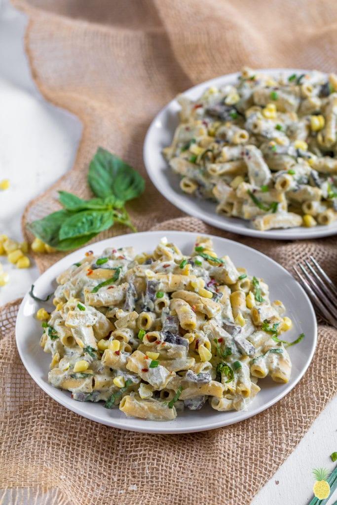 Creamy dreamy vegan alfredo that is healthy & gluten-free! Roasted Corn Alfredo Pasta {gluten & oil-free} sweetsimplevegan.com #vegan #glutenfree #pasta #alfredo #veganalfredo