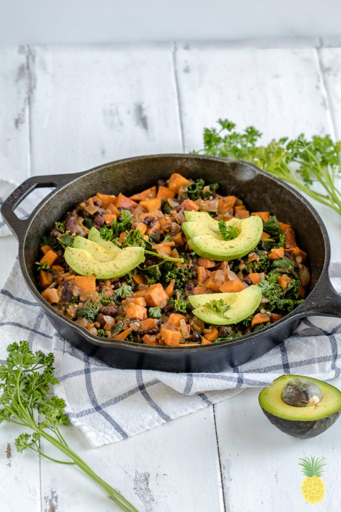An easy & healthy vegan breakfast idea! Sweet Potato & Black Bean Breakfast Hash {gluten- and oil-free} sweetsimplevegan.com #breakfast #vegan #sweetpotato