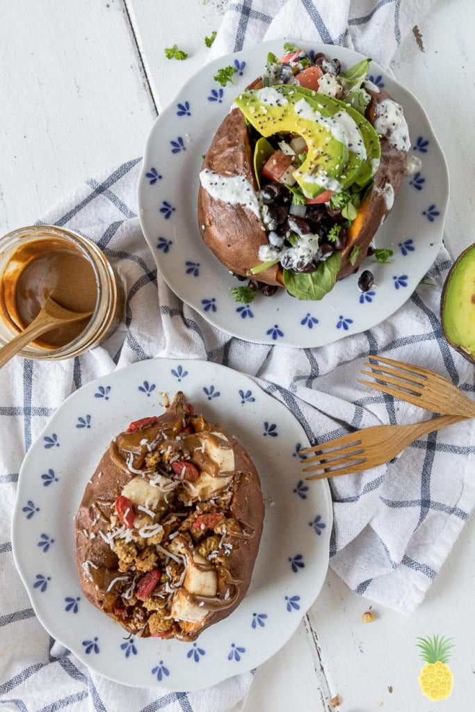 Easy & filling Vegan Breakfast Boats! Sweet & Savory Breakfast Sweet Potato Boats -- 2 Ways! sweetsimplevegan.com #vegabreakfast #oilfree #sweetpotato