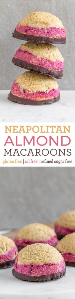 Neapolitan Almond Macaroons {gluten, refined-sugar and oil-free} sweetsimplevegan.com #oilfree #glutenfree #macaroons #vegan #healthyvegan