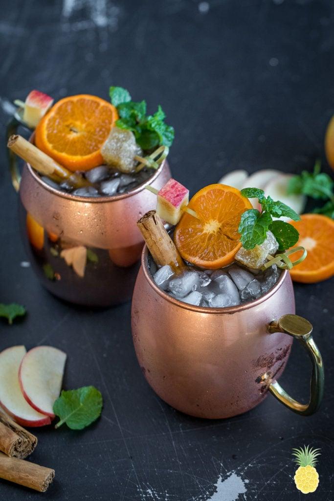 Festive Autumn Apple Cider Mules! sweetsimplevegan.com #mules #applecider #vegan #fall #autumn