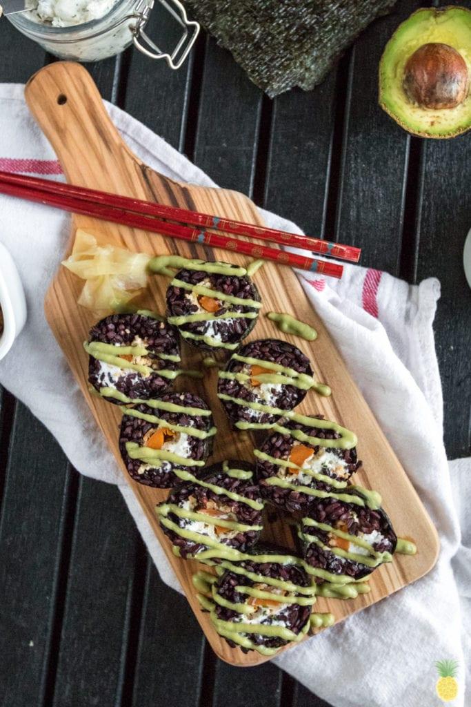 Vegan Halloween Sushi! Black Rice Philadelphia Rolls w/ Avocado Wasabi Sauce sweetsimplevegan.com