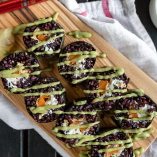 Vegan Halloween Sushi- Black Rice Philadelphia Rolls w/ Avocado Wasabi Sauce