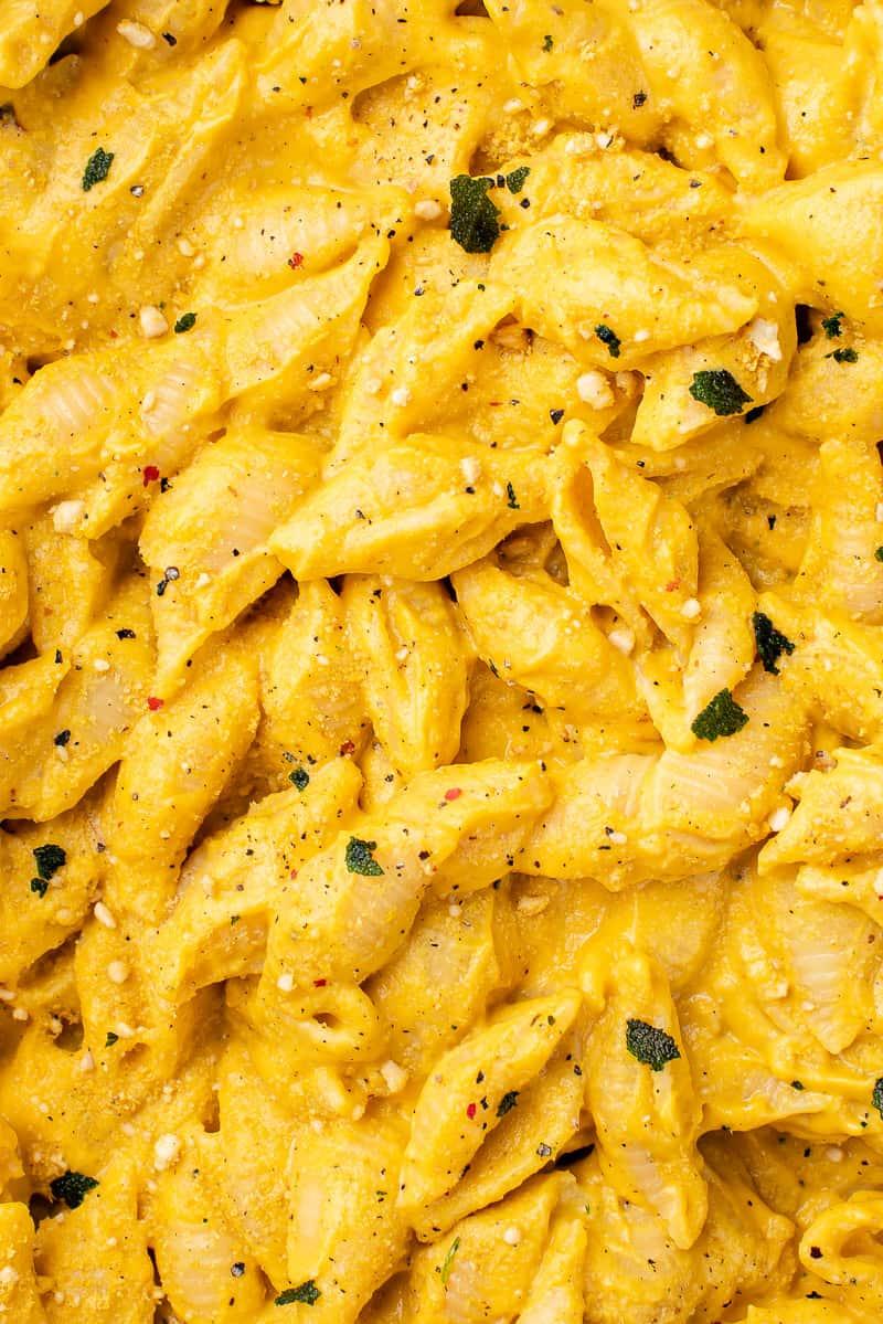Close up of vegan Pumpkin Pasta