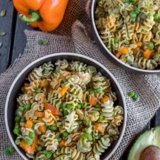 Fall Pasta Salad w/ Avocado Dijon Dressing {oil-free}