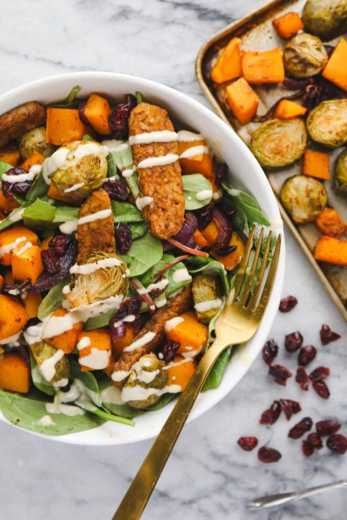 Fall Vegetable Salad with Smoky Tempeh