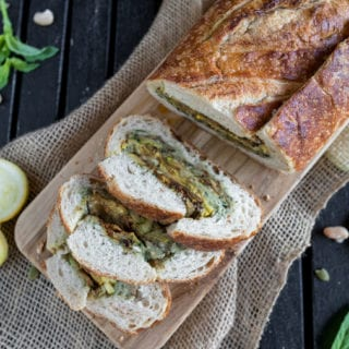 Grilled Fall Vegetable Bread Boat w/ Pumpkin Seed Pesto