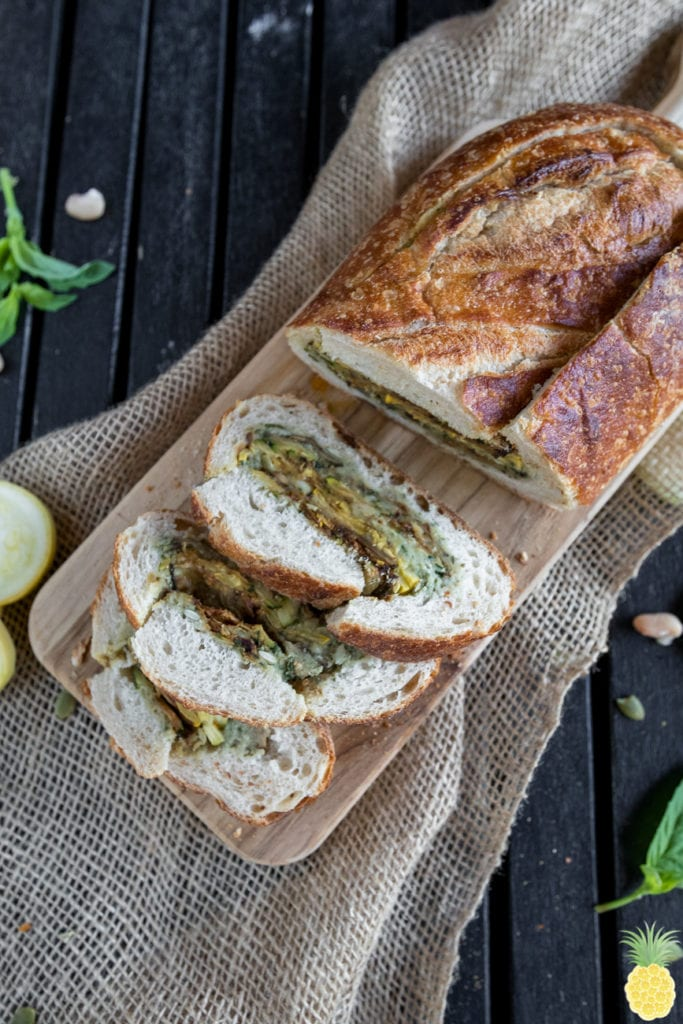 Grilled Fall Vegetable Bread Boat w/ Pumpkin Seed Pesto sweetsimplevegan.com Must Try Fall Recipe!