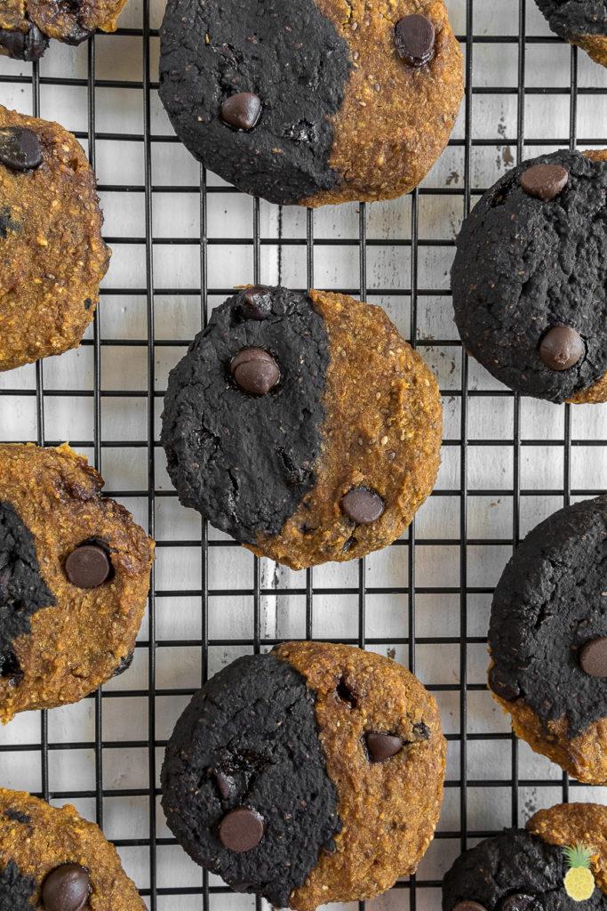 Half Half Halloween Cookies W Activated Charcoal Gluten Oil Free