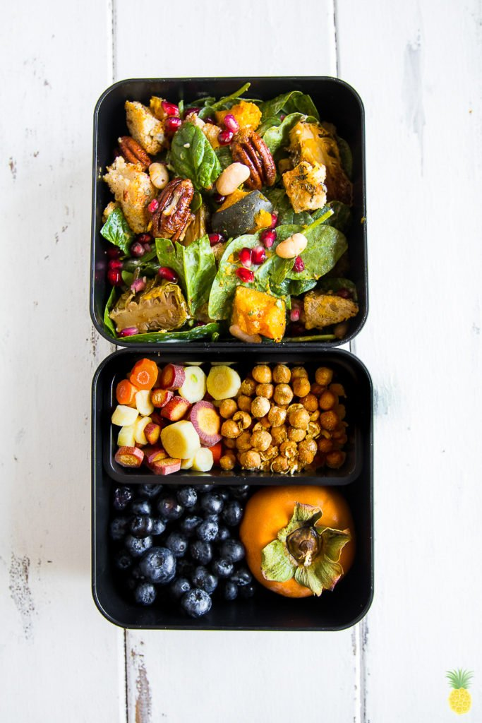 The best Hearty Fall Salad! Filled with maple glazed Brussels sprouts and a tahini sage dressing {oil-free}! sweetsimplevegan.com