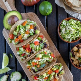 Potato Tacos w/ Brussels Sprouts Slaw & Homemade Quinoa Tortillas {easy + gluten-free}