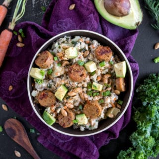 Savory Oatmeal with Veggies & Sausage {vegan & gluten-free)