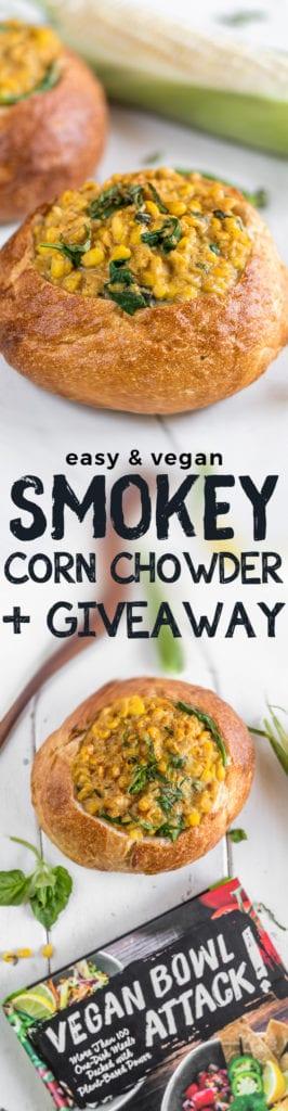 An easy vegan Smoky Corn Chowder Bread Bowl! {healthy & oil-free} sweetsimplevegan.com