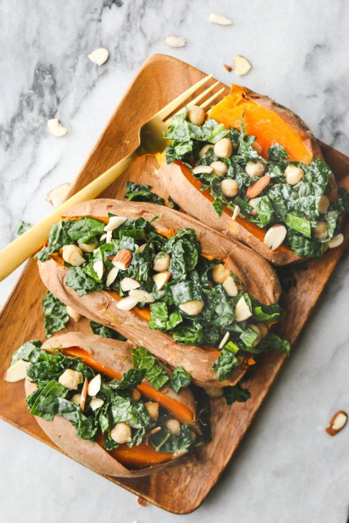 Easy Vegan Sweet Potato Kale Boats with Tahini Dressing
