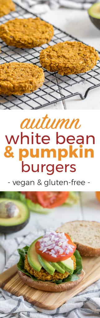 Healthy fall festive white bean & pumpkin burgers! Vegan + gluten free!