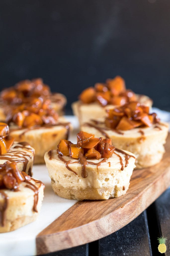 Easy Vegan Baked Cheesecake Bites w/ Caramelized Persimmons! sweetsimplevegan.com