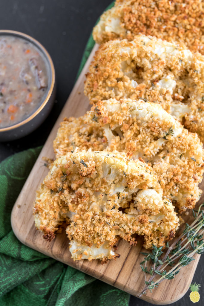 Breaded Thanksgiving Cauliflower Steaks {oil-free} sweetsimplevegan.com