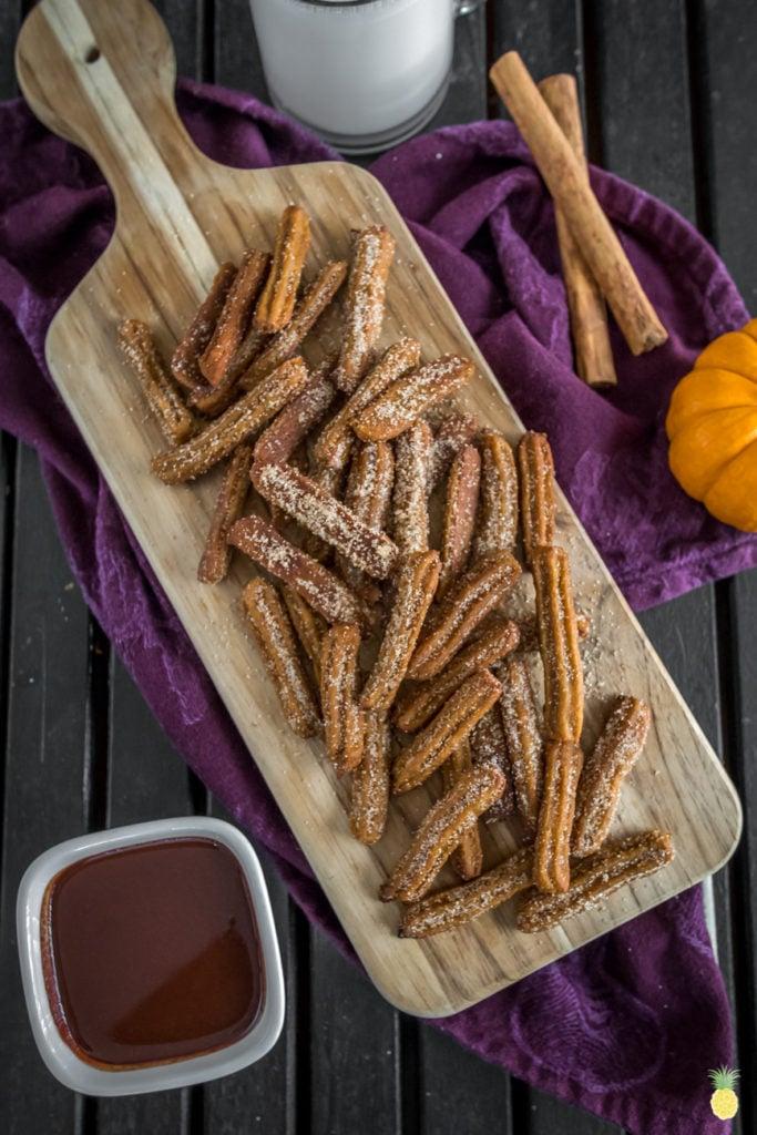 MUST TRY Mini Pumpkin Churros w/ Maple Chocolate Sauce sweetsimplevegan.com