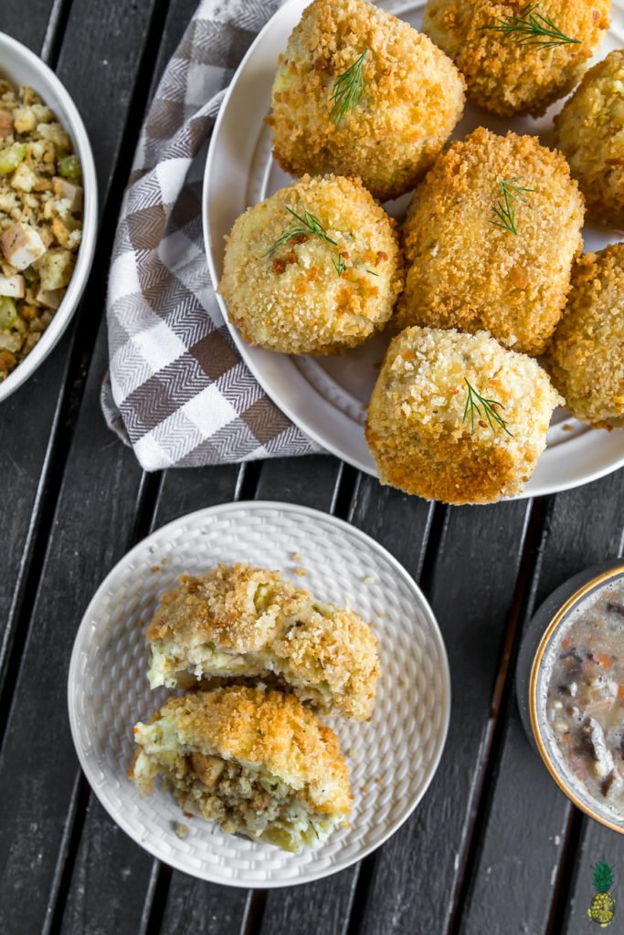 Thanksgiving Stuffed Mashed Potato Balls {vegan}