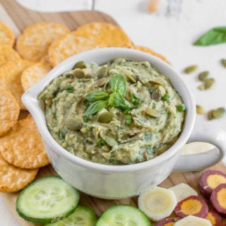 Easy Vegan White Bean Pumpkin Seed Pesto {oil & nut-free} sweetsimplevegan.com