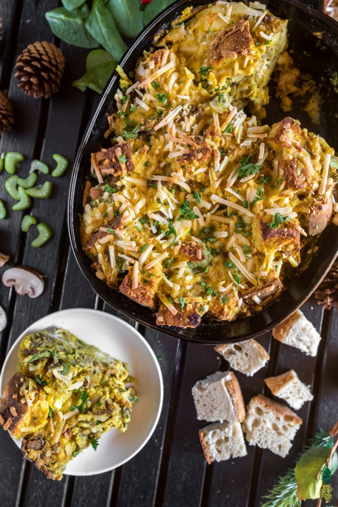Vegan Strata - Make Ahead Holiday Breakfast Casserole https://sweetsimplevegan.com/2017/12/vegan-strata/ #vegan #strata #holidaybreakfast #breakfast #makeahead #mealprep