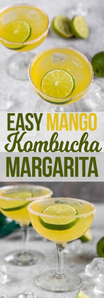 Easy Mango Kombucha Margaritas that are easy to make and perfect for New Year's Eve! #vegan #cocktail #margarita #kombucha #easy #musttry